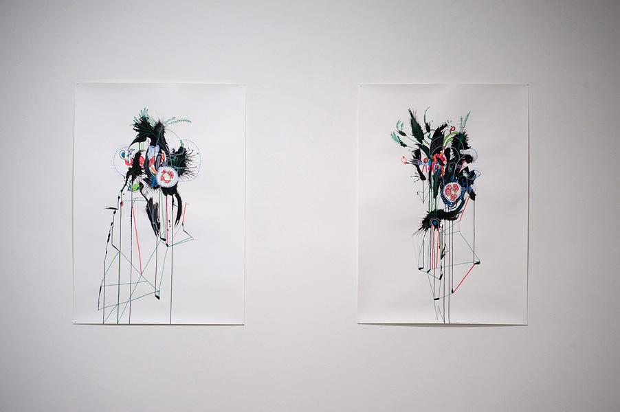 Nicholas Dallwitz,  Numen Botanical 1&2,  2011 Ink and mixed media on paper, 86 x 122 cm