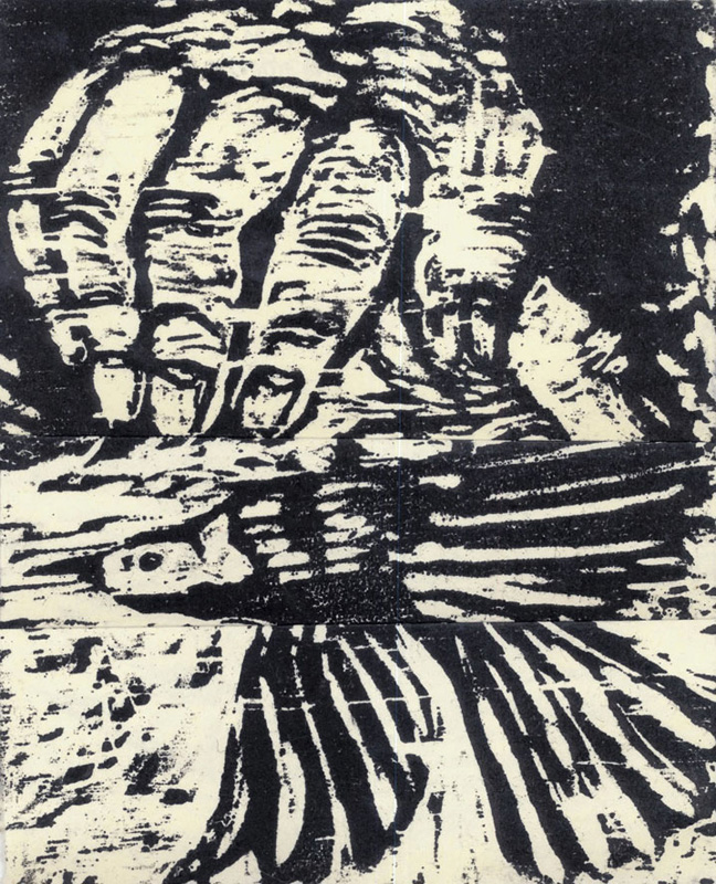 Maggie Jennings,  A bird i the hand ..., 2010, woodcut