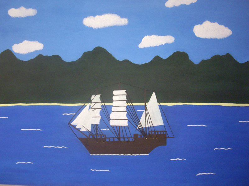 Darren Trewin,  The Endeavour Stranded at Cooktown , 2010, Acrylic on canvas