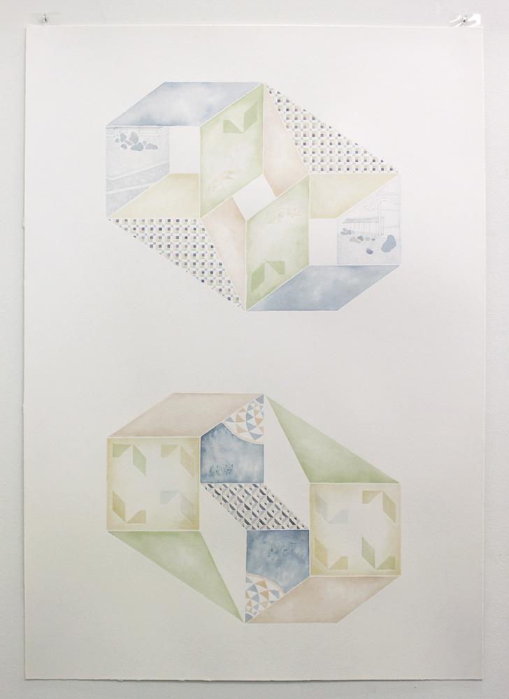 Yuria Okamura,  Asymmetry,  2010, Acrylic and ink on paper, 97 x 67cm