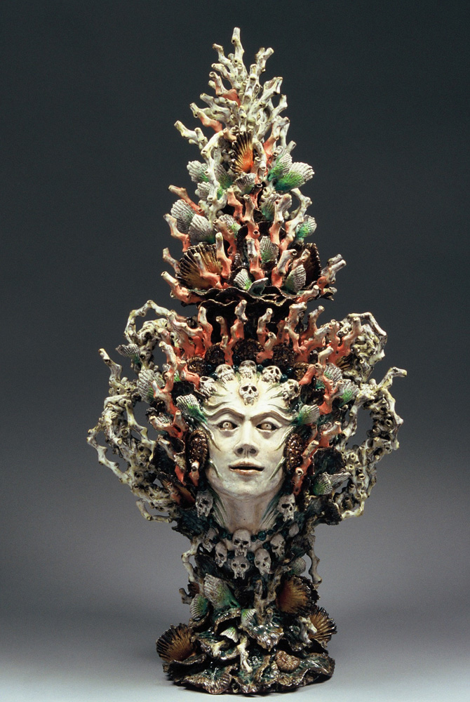 Janet Beckhouse (Korakas),  She Who Cheats the Hand of Death,  2007, Stoneware, glaze, on-glaze, 800 mm x 550 mm, Image courtesy the artist and Skepsi gallery, Melbourne, Photography by Jeremy Dillon
