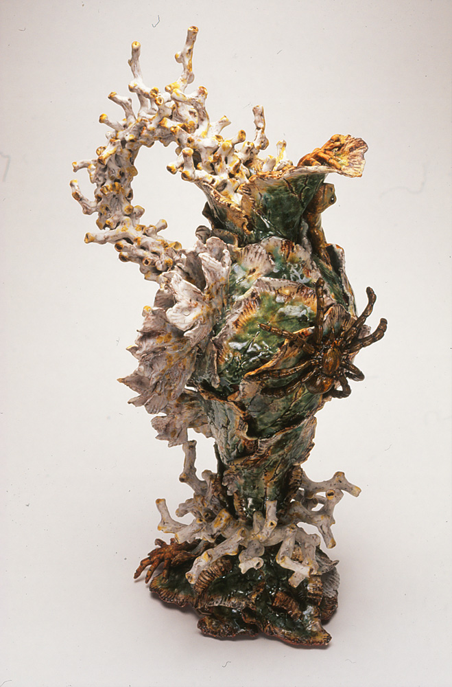 Janet Beckhouse (Korakas),  Arachne's Last Stand , 1998, Stoneware, glaze, on-glaze, Image courtesy the artist and Skepsi gallery, Melbourne, Photography by Jeremy Dillon