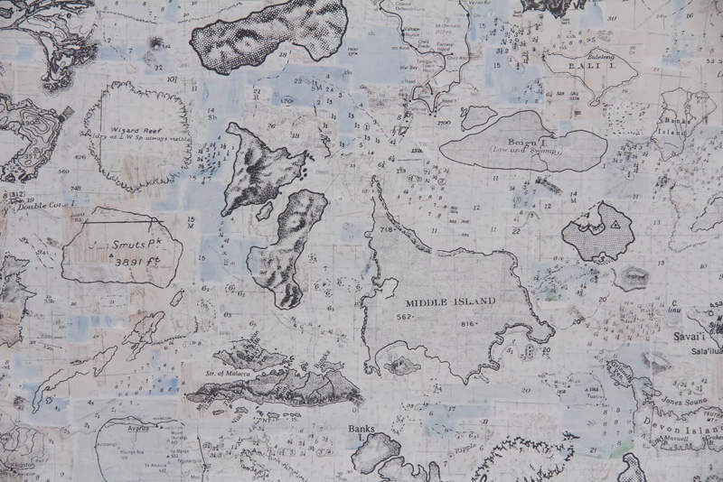 Susanna Castleden,  Remaking the Map of the World Dubai.  (detail), 2011, Maps and screen-print on paper, 150 x 210 cm