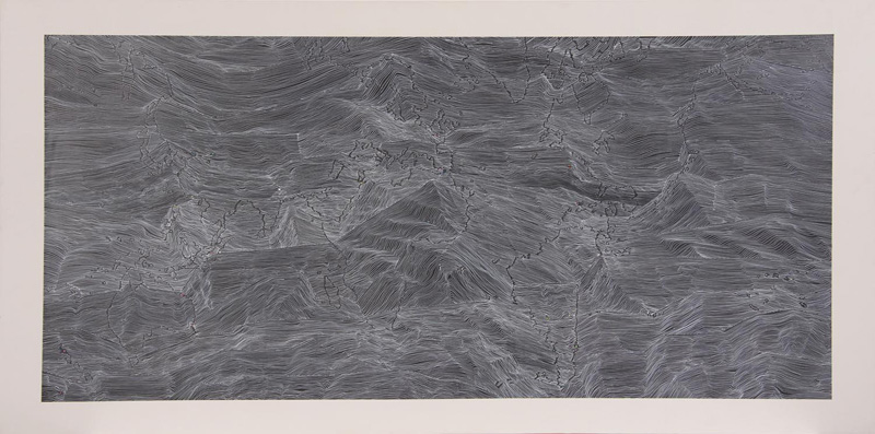 Susanna Castleden,  Around the Antipodal Points (Back of the World) , 2011, Gesso and ink on board, 60 x 120 cm