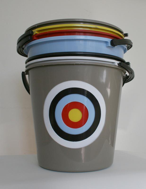 Bruce Slatter,  Bucket Target , 2011, Plastic Buckets, 34 x 32 x 32 cm