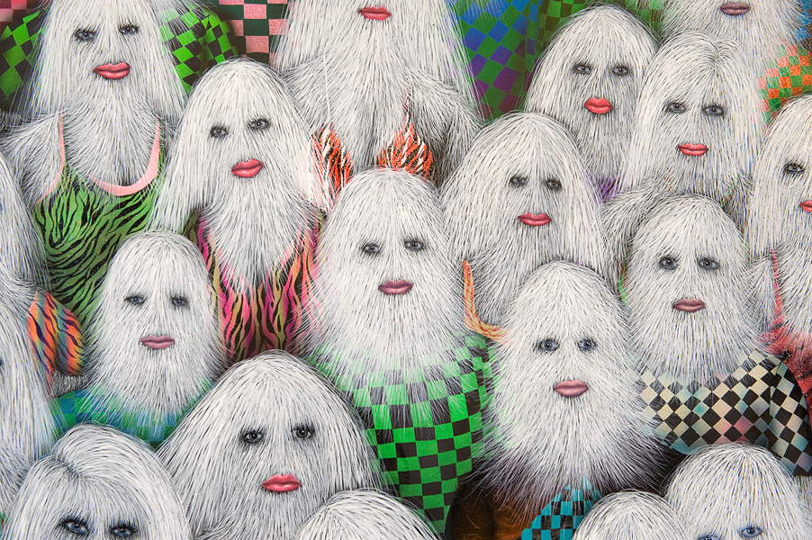 Erik Mark Sandberg,  Youth with Friends,  Detail, 2011, Acrylic, oil, airbrush, glitter and ink on canvas 129 x 240 cm