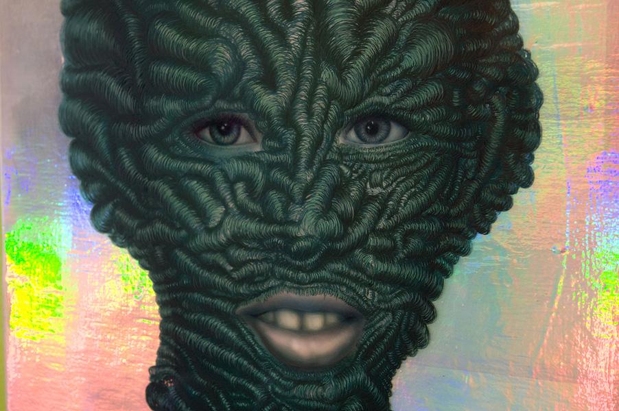 Erik Mark Sandberg,  Boy with Green Plaid Shir t, 2011, Acrylic, collage, oil, air-brush, resin and silk-screen on panel, 60 x 47 cm