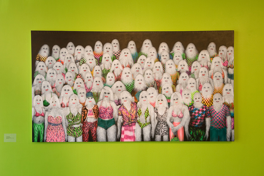 Erik Mark Sandberg,  Youth with Friends , 2011 Acrylic, oil, airbrush, glitter and ink on canvas 129 x 240 cm