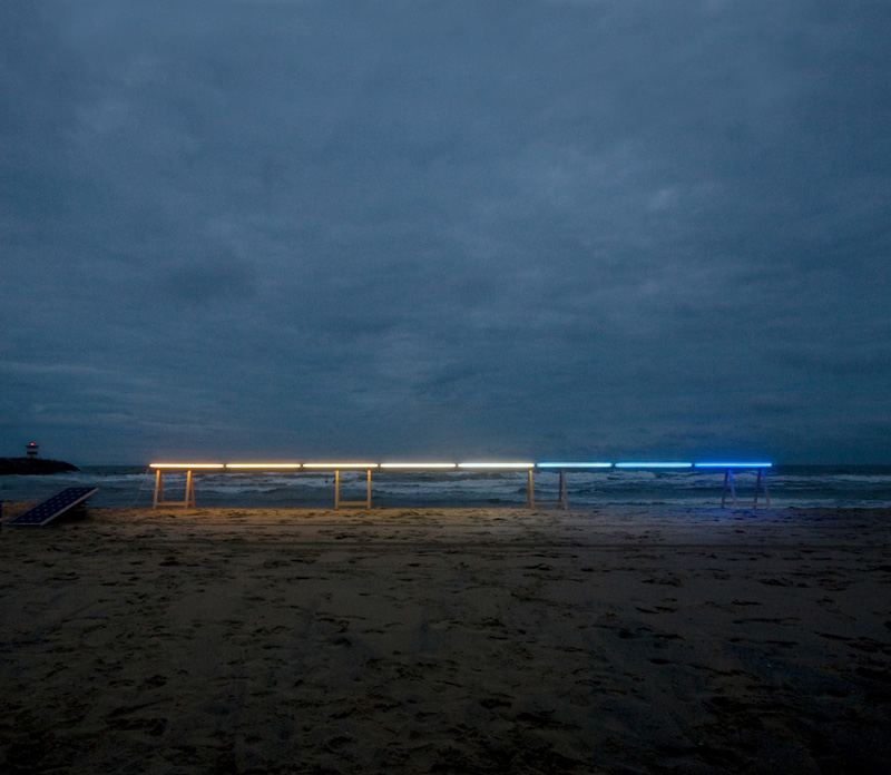James Geurts , Drawing Horizon  (site/time-specific light installation), 2011, Durotran photographic print with lightbox, 90 x 90 cm