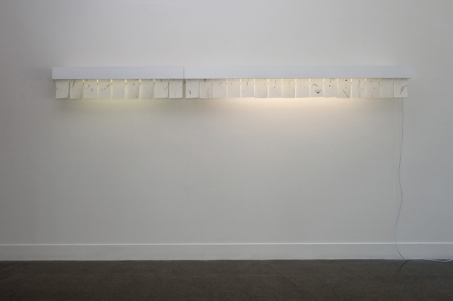 James Geurts,  Drawing : Incoming , 2011 Light boxes, works on paper, 30 x 350 x 30 cm