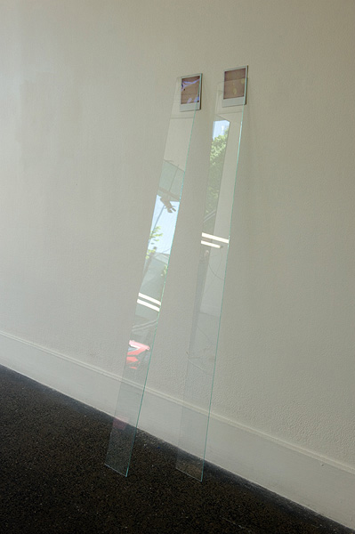 James Geurts,  Drawing : High Tide – Low Tide,  2011, Polaroid and glass installation, 115 x 30 x 5 cm