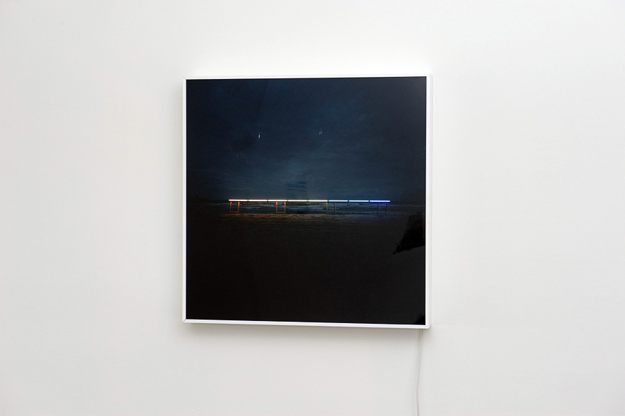 James Geurts,  Drawing Horizon  (site/time-specific light installation), 2011, Durotran photographic print with lightbox, 90 x 90 cm