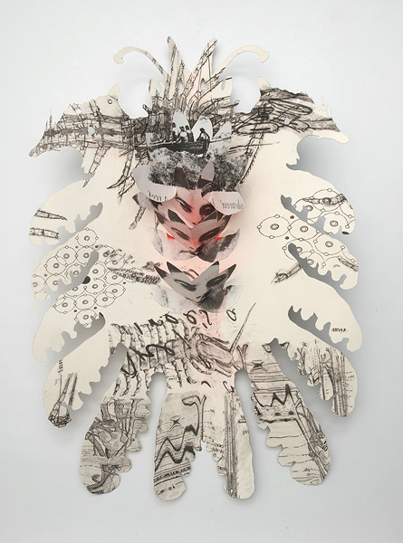 Heather Shimmen,  Suspended Anima- marsupial (detail), 2011, Solvent transfer on paper, Image courtesy of the artist and Australian Galleries, Melbourne and Sydney