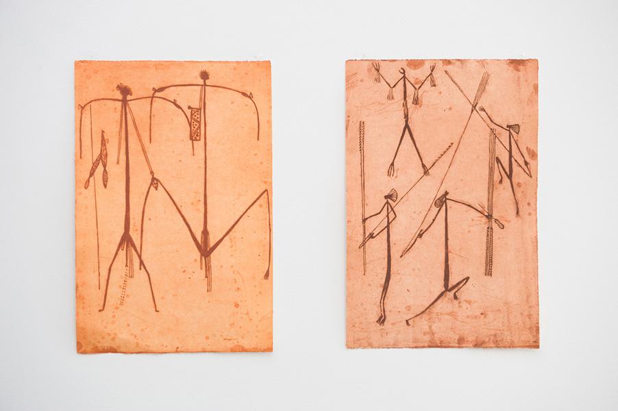 Graham Badari,  (Mimi spirits),  2010-11, two-plate etching, editioned by Andrew Sinclair;  (Mimi spirits),  2010-11, etching, editioned by Andrew Sinclair, Image courtesy of the artist and Injalak Arts and Craft Association, Gunbalanya, N.T.