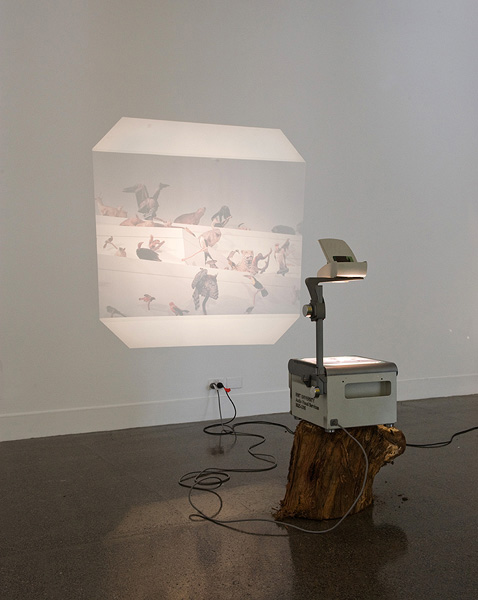 Katrin Hornek , On nature (Melbourne Museum),  2011, Overhead projectors, gumtree logs, garden stakes