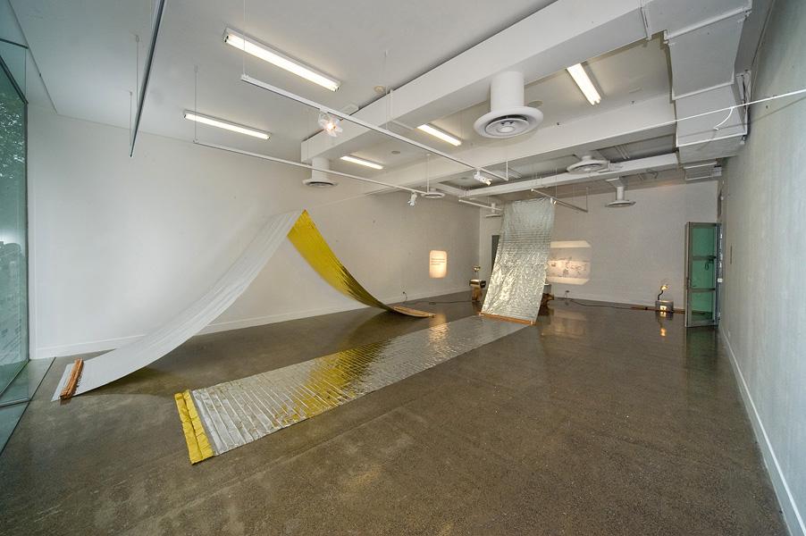 Katrin Hornek in collaboration with VERSE,  Not As Soon As , 2011, Emergency blankets, garden stakes, poly rope, tape, eye-hook screws