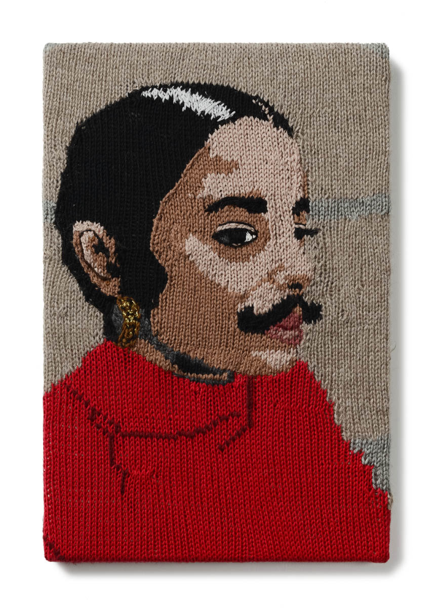 Kate Just,  Feminist Fan #25 (Ana Mendieta, Untitled Facial Hair transplant, moustache, 1972) , 2016, Hand knitted wool and acrylic yarns, canvas, timber, 46 x 30 cm