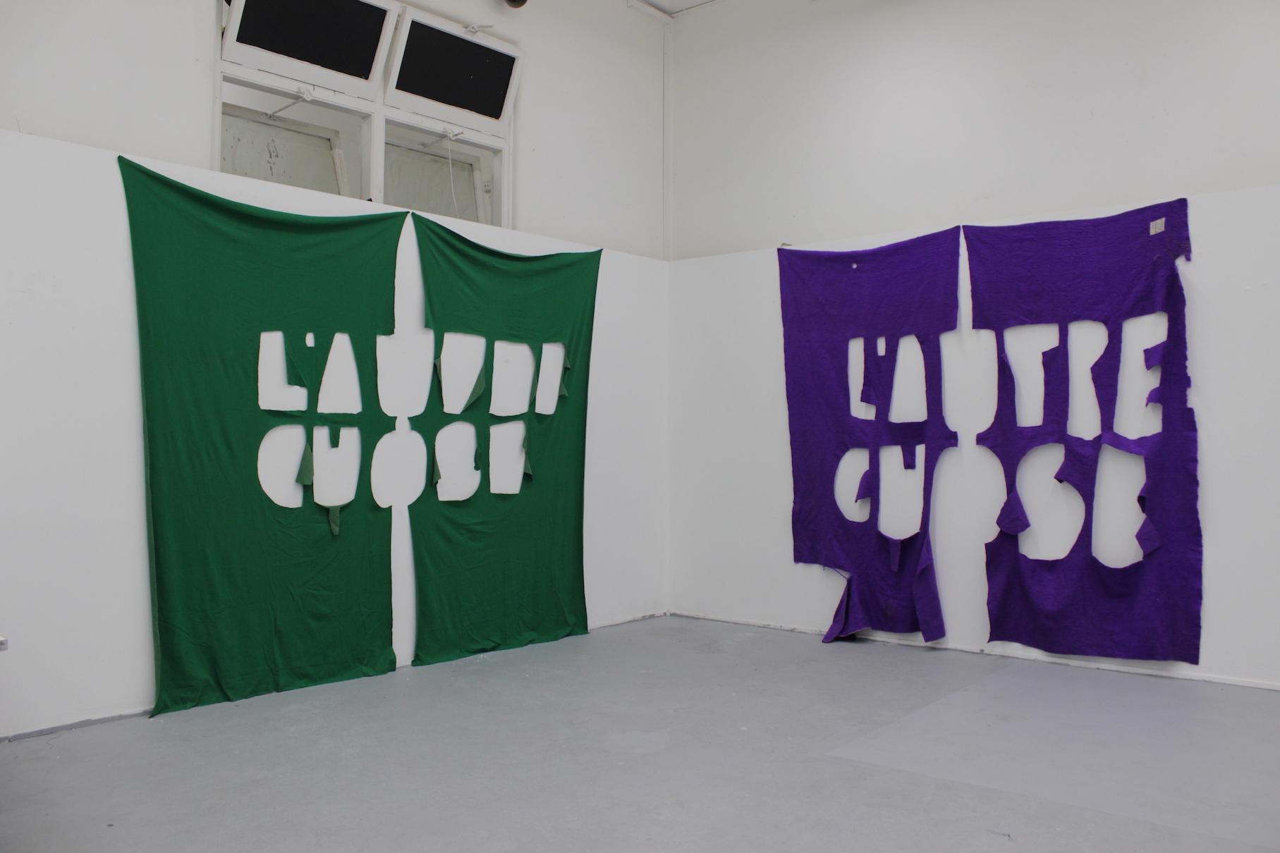 Penelope Moye, L-R  L'autre chose (green) , 2017, fabric, approx. 240 X 240 cm, L'autre chose (purple), 2017, found blanket, approx. 230 x 235 cm