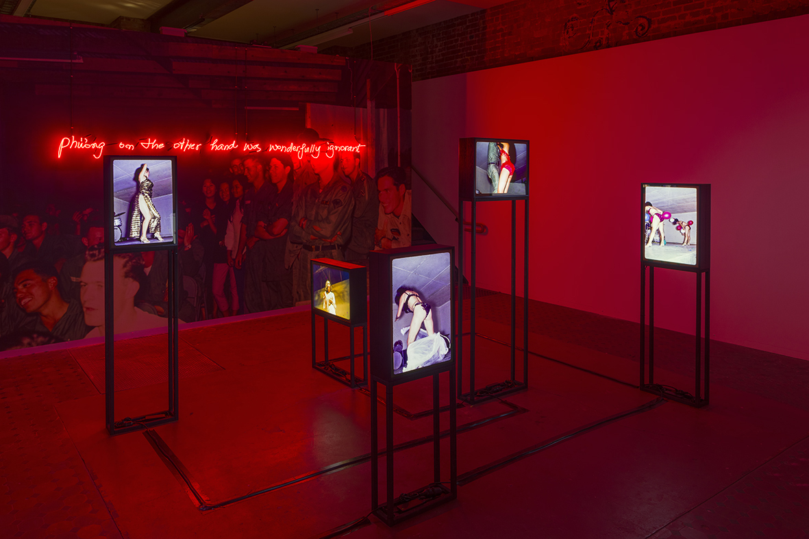 Phuong on the other hand was wonderfully ignorant, 2017. Dimensions variable, Neon, duratrans, light boxes, steel. Photo Credit: Matthew Stanton