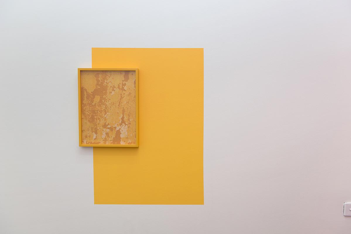 Lucie McIntosh,  Necropolis (a monument) , 2017, Archival pigment print, painted frame, painted wall, 40 x 30cm