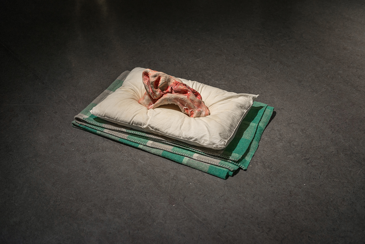Te' Claire,  Surface Trauma,  2018, ceramic, pillows & blankets, Dimensions variable