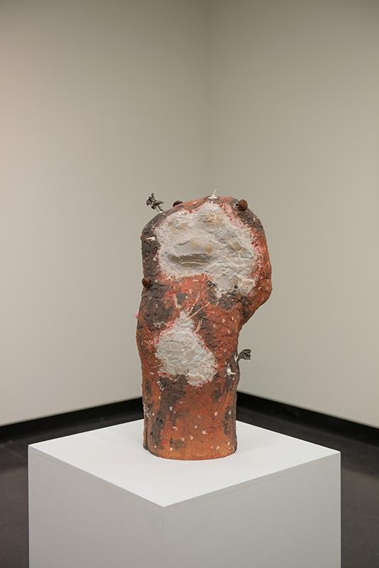 Susan Flavell   Lun , 2014  Raku, porcelain, chains  62 x 26 x 29 cm