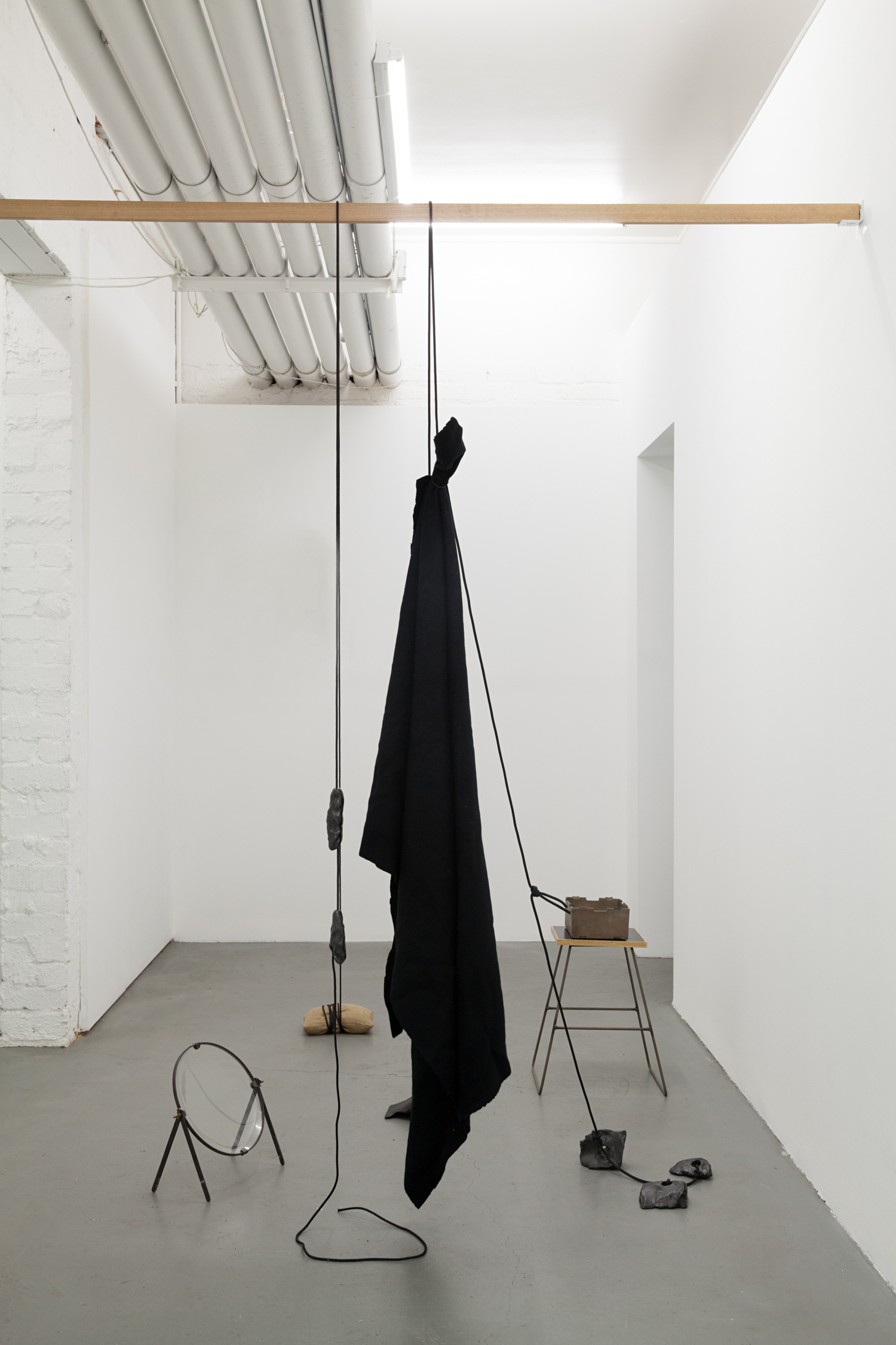 Katie Lee,  Tool Things,  2017, bronze, ceramic, glass, hessian, rope, steel, timber and wool, dimensions variable.