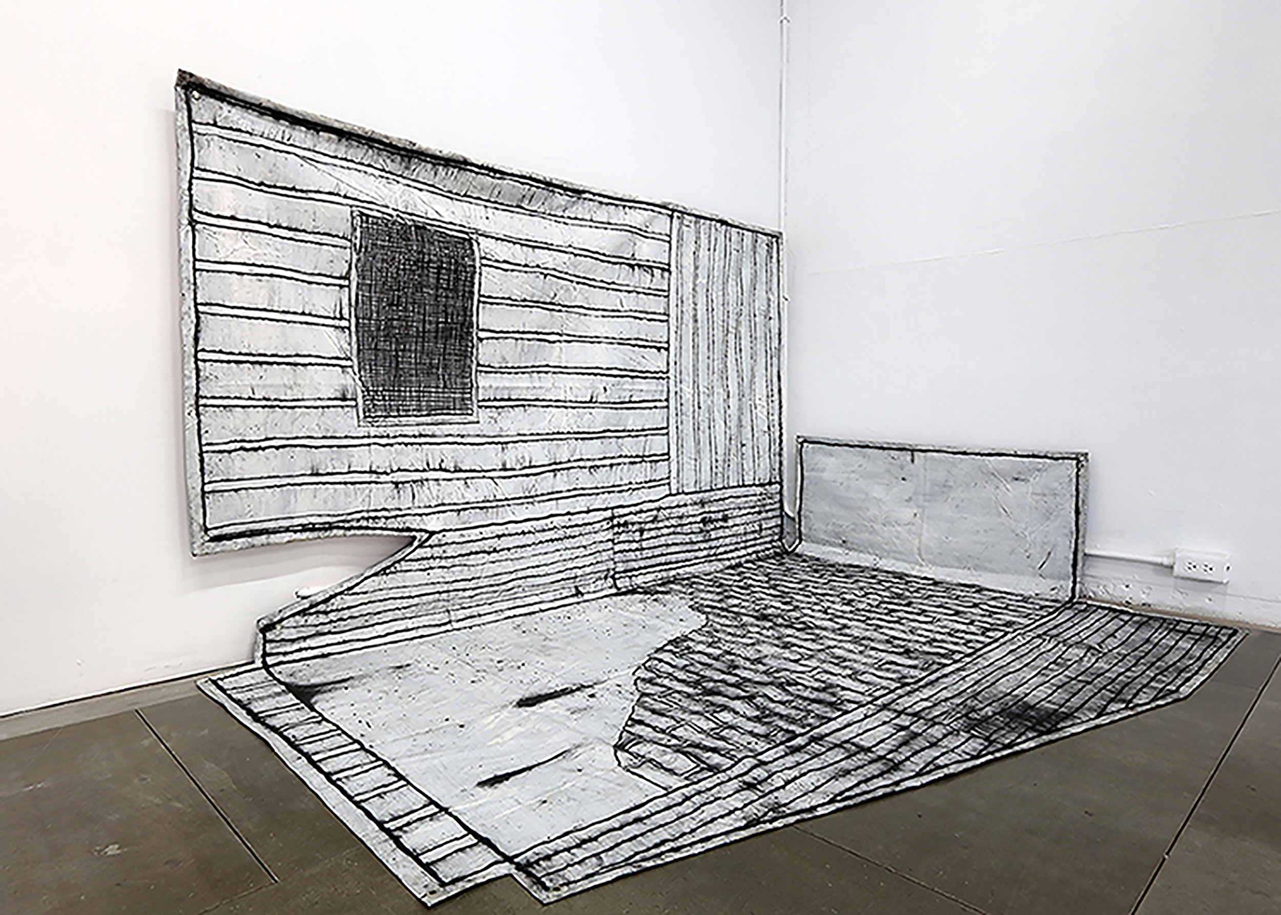 Chiao-Yen Hsu,  Tomography, The Space of Plus # 3,  2012, charcoal, acrylic, plastic, 280 x 300 cm