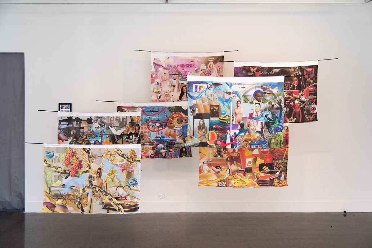 Xanthe Dobbie,  Wallpaper Queens , 2018, 7 prints on fabric & online quiz, 98 x 72 cm each