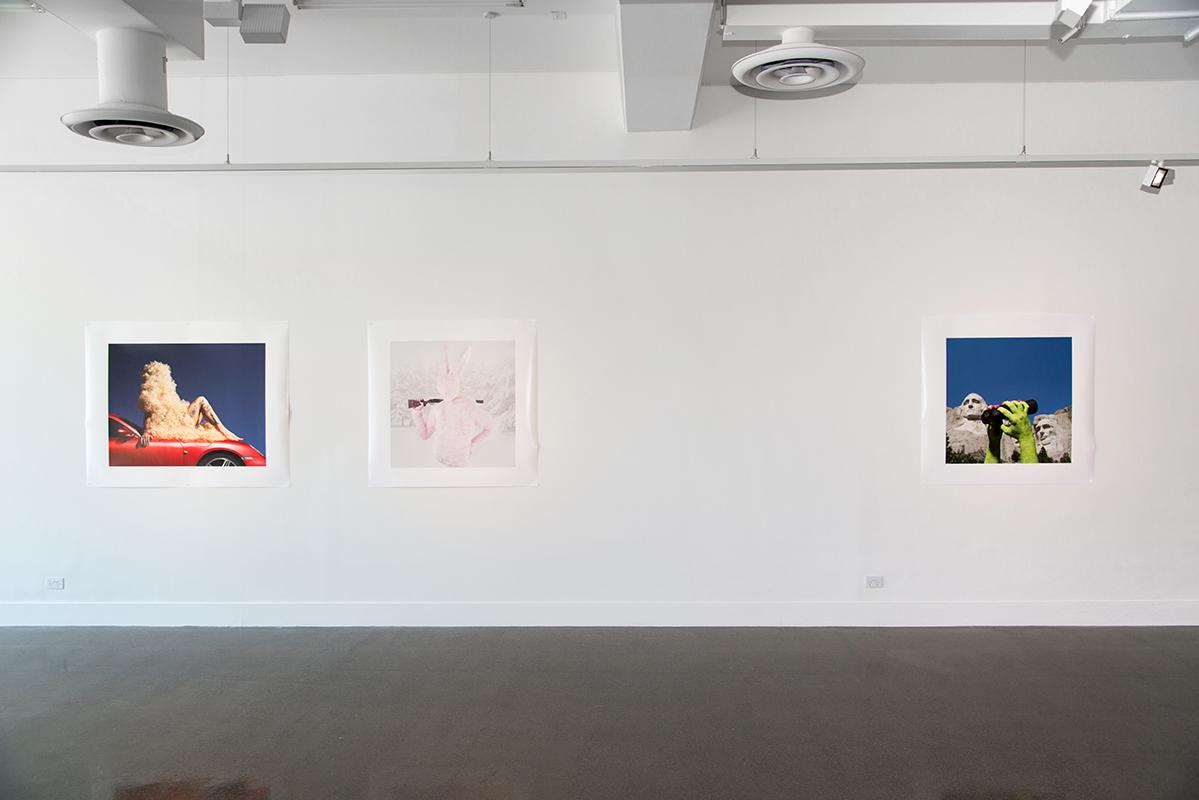 Gerwyn Davies, (left to right)  Hot Rod , 2018, photographic print, 110 x 138 cm,  Rabbit , 2014, photographic print, 110 x 110 cm,  Rushmore , 2017, photographic print, 110 x 138 cm