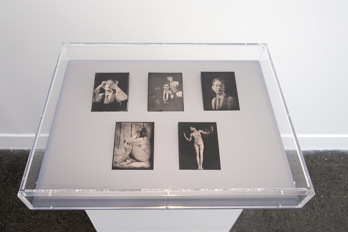 Sophie Caligari, (top - left to right) Untitled, 2019, Untitled, 2019, Untitled, 2019, (bottom - left to right) Untitled, 2017, Untitled, 2017, tintype photographs, 12.7 x 10.16 cm (each)
