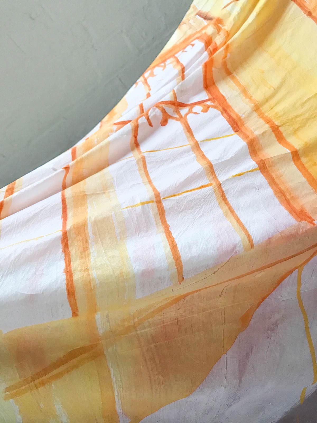 Chiao-Yen Hsu,  Scene 05  (detail), 2019, plastic drop sheets, acrylic, filler, 175 x 375 cm.