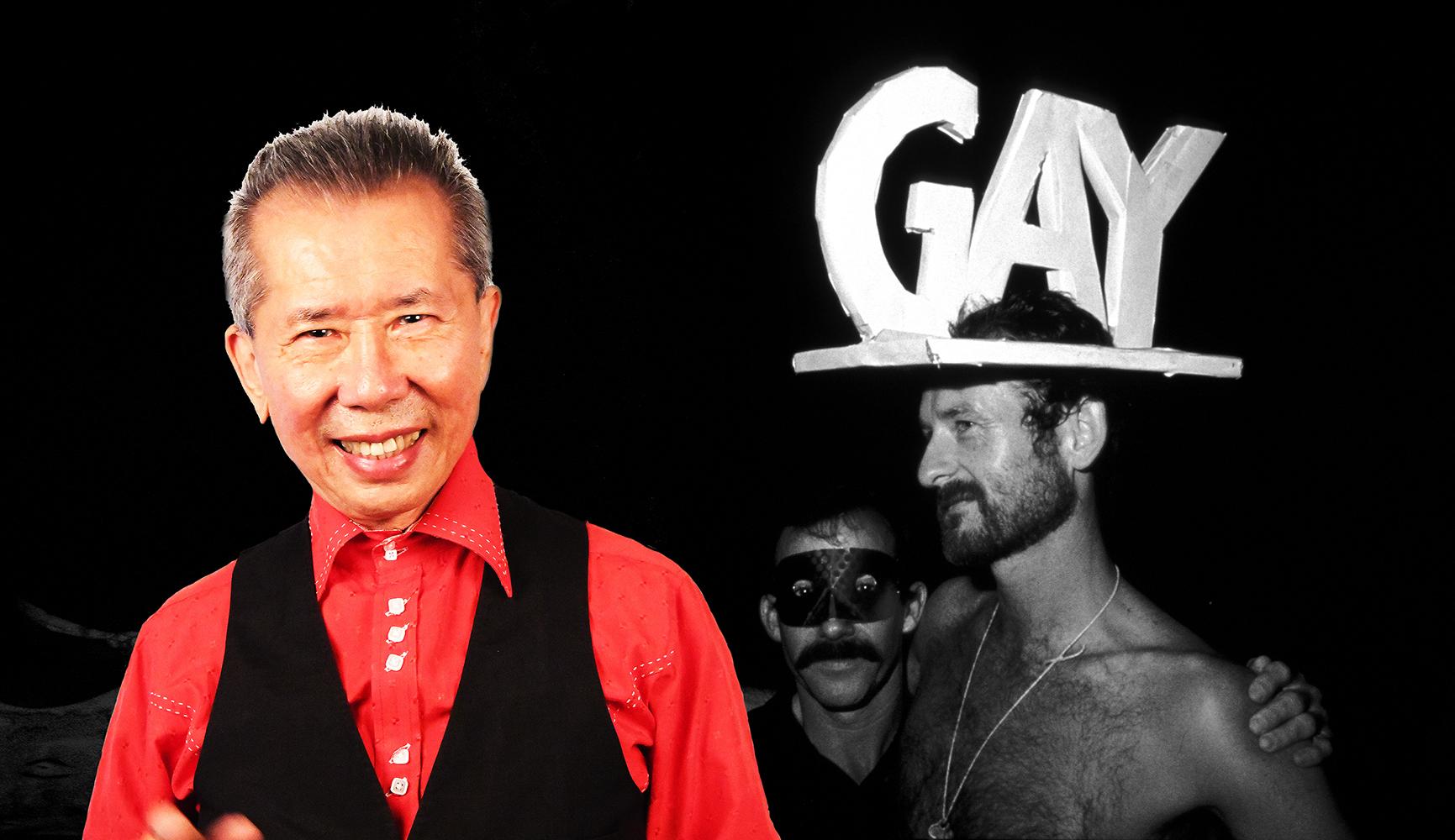 William with big hq gay hat Mardi Gras 1984.