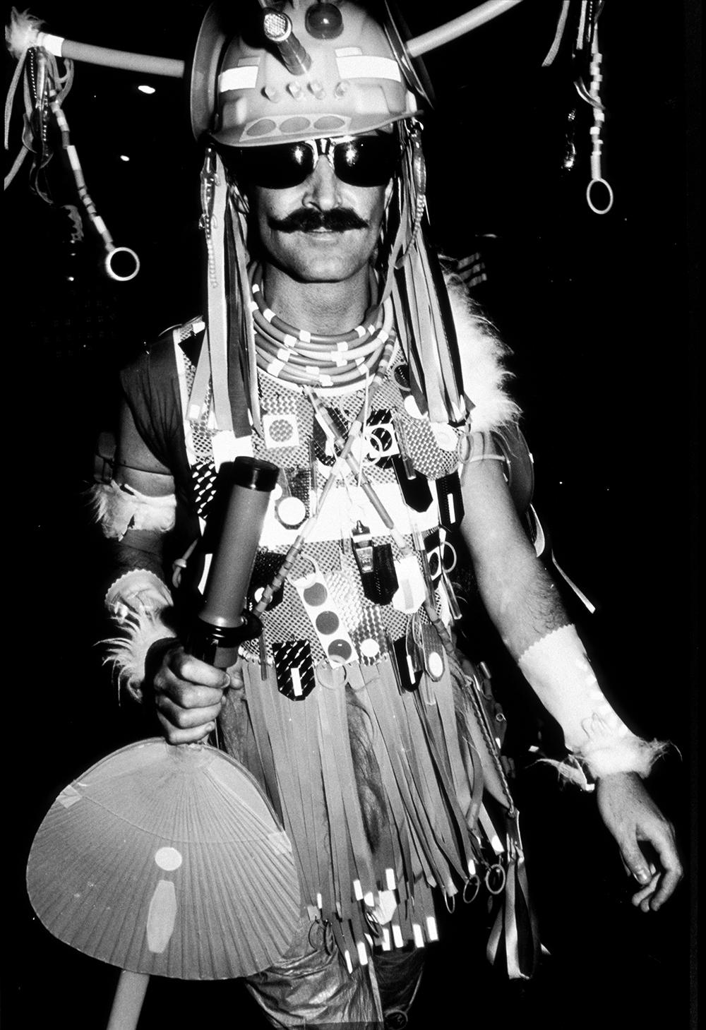 Peter Tully wearing Urban Tribalwear at Mardi Gras 1981.