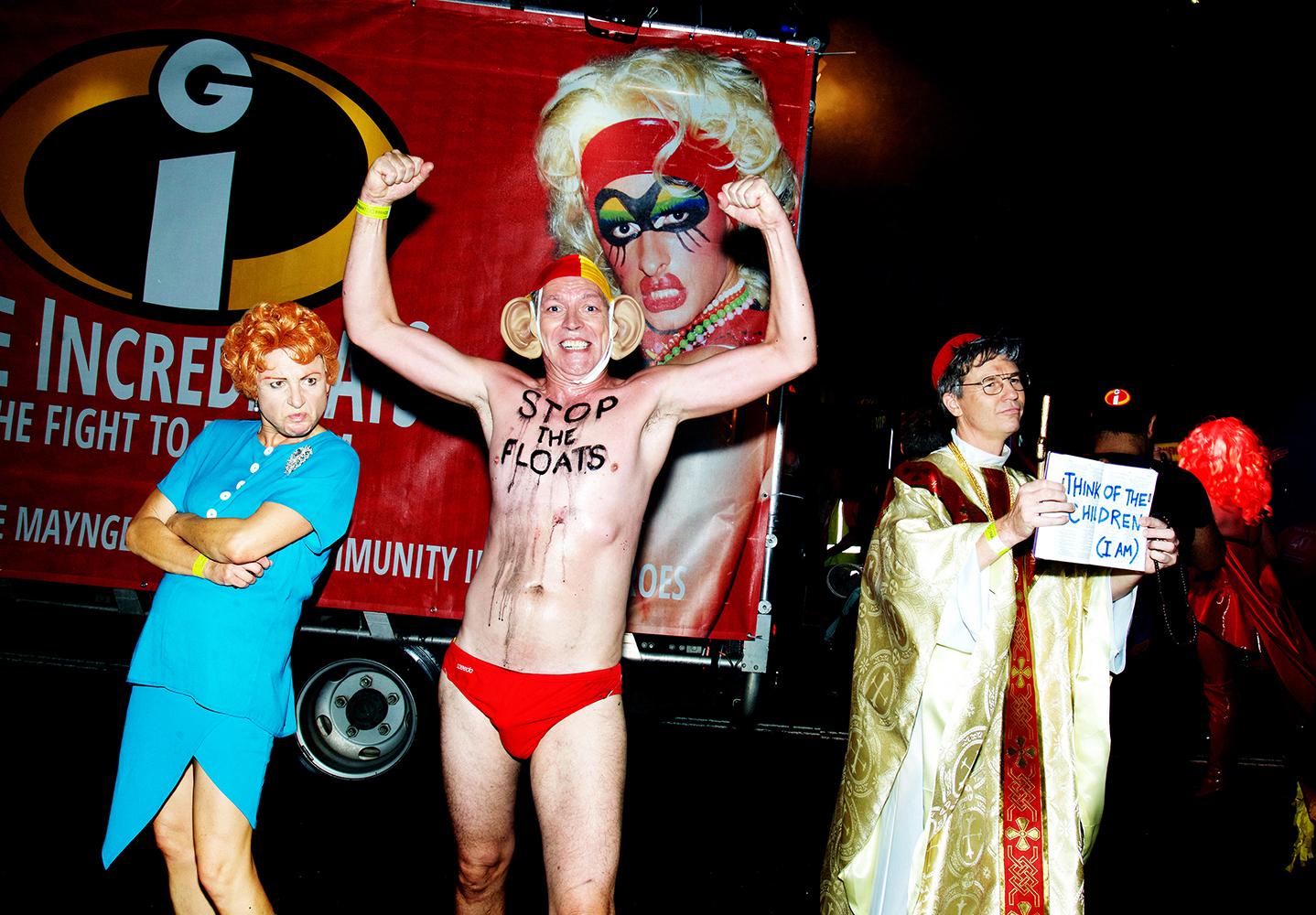 Gay and Lesbian Mardi Gras 2018. Popular villains of the day, Pauline Hanson, Tony Abbott, George Pell.