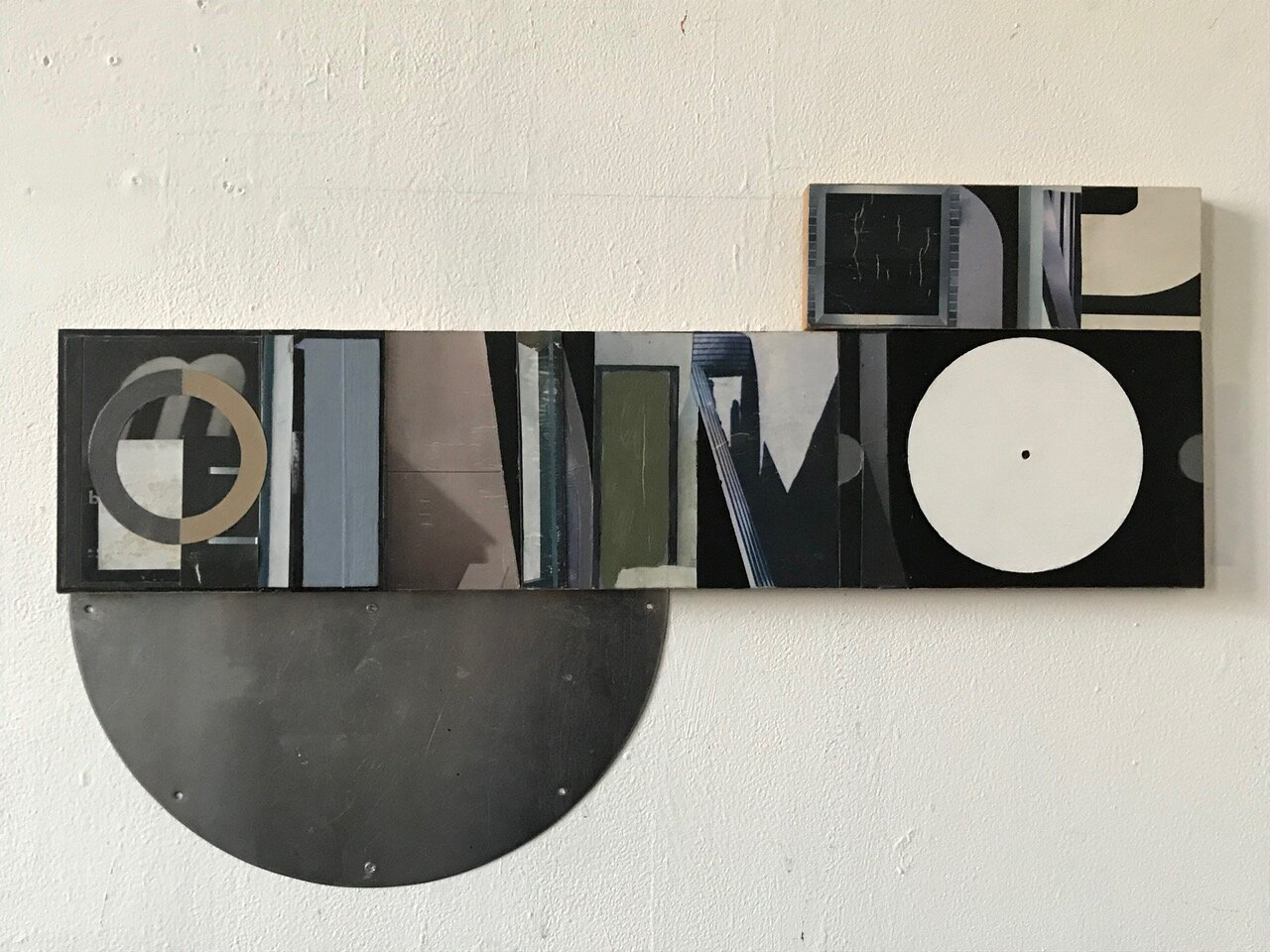 Laurence Noga,  Soft, white floating silver,  2016 Acrylic, collage and steel in three parts, 45x72cm. Image courtesy of the artist.