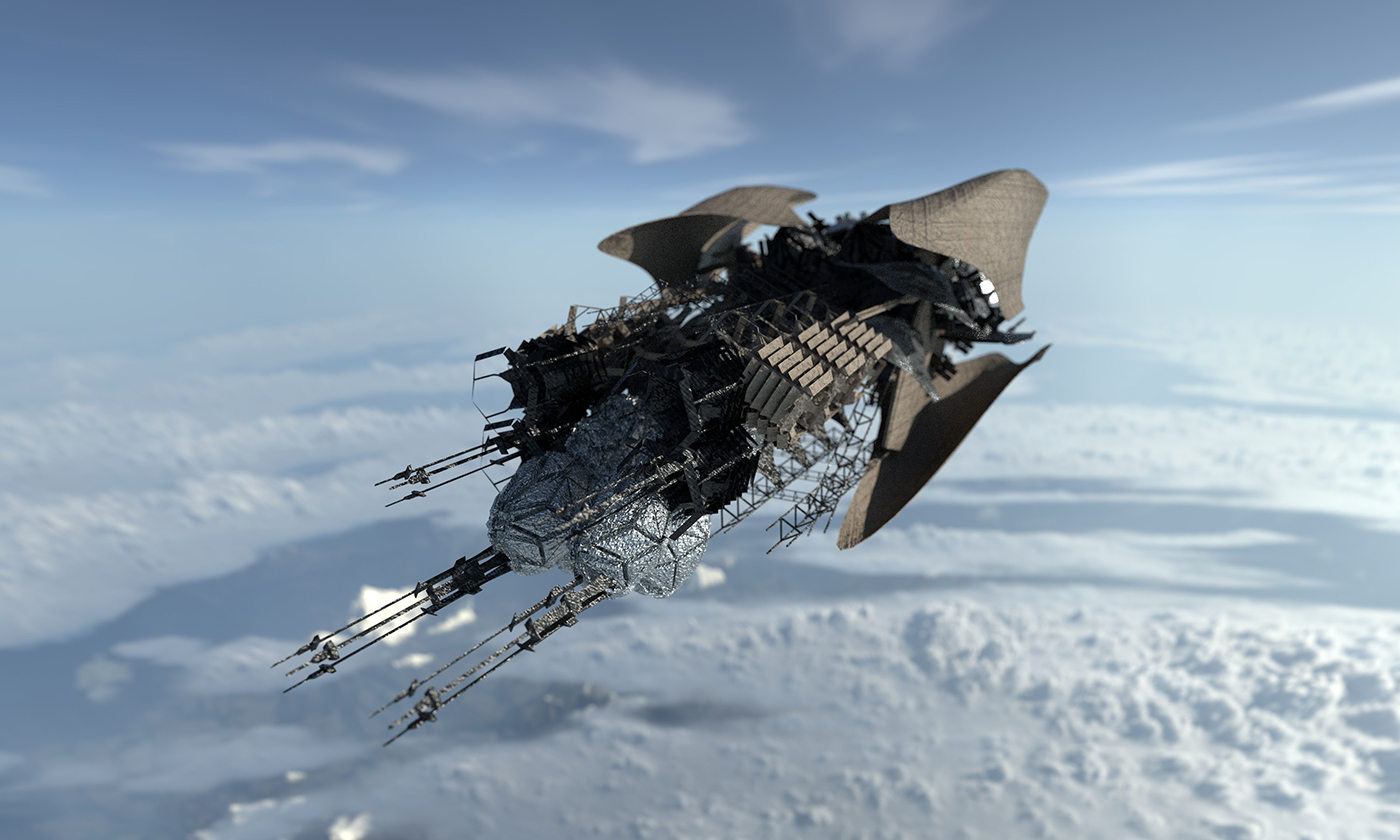 Tin Foil and cardboard ship made it high thanks to helium capsules and steady hands, rendered in Substance Painter, created in VR.