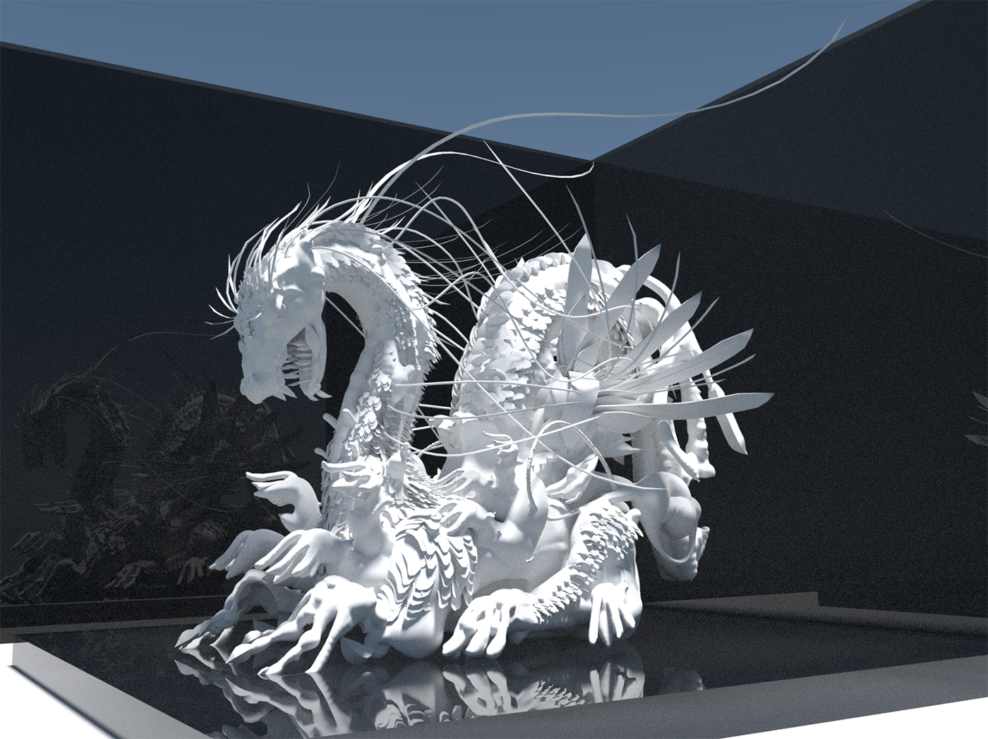I've never sculpted a dragon prior to this, so I think dragons ought to have more hands (?). Sculpted in VR.
