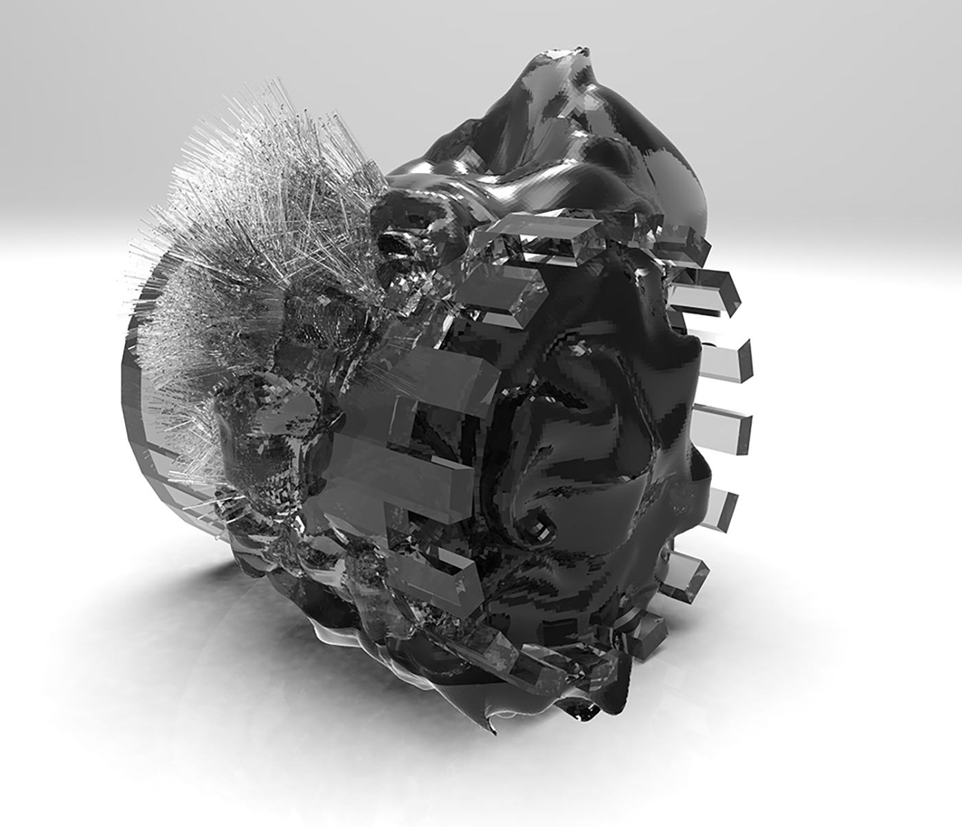 An engine nacelle with glue and anemones, structured specifically to ender the turbine collider.