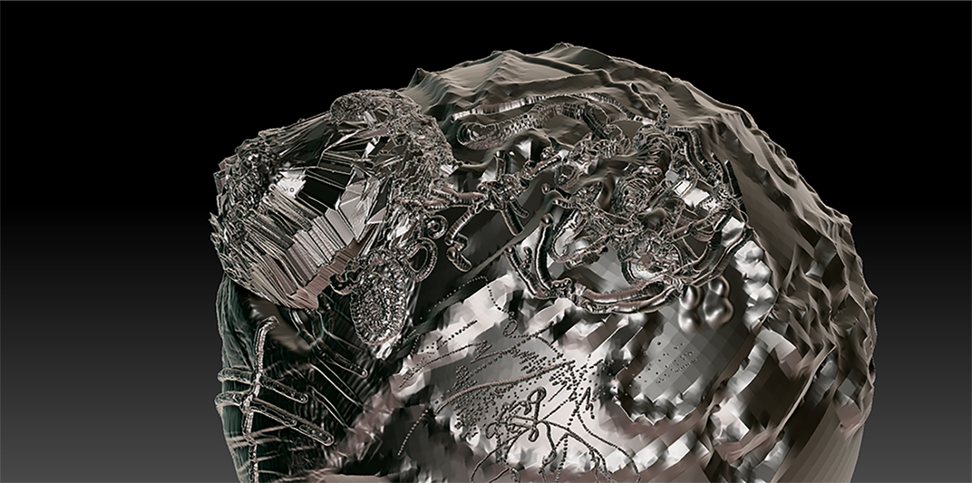Detail of helmet, made in ZBrush.