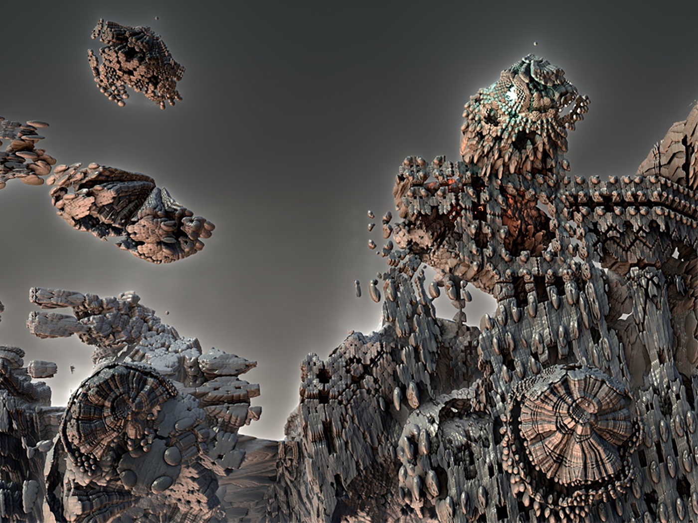 Modeled by voxel slicing a combination of the Mandelbulb, Euler and Sierpinski sets.