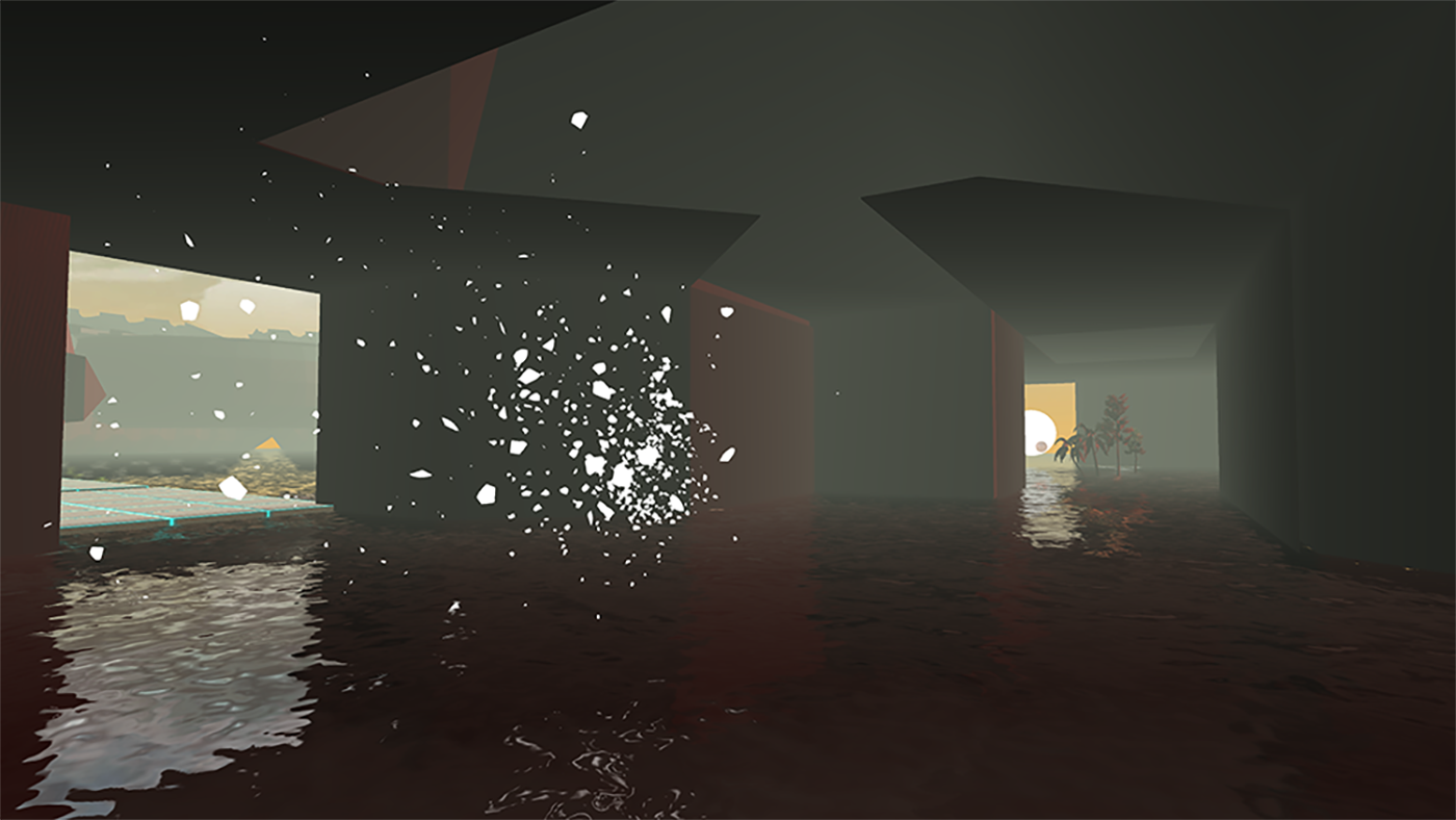 (another view, player interacts with breakable sphere)