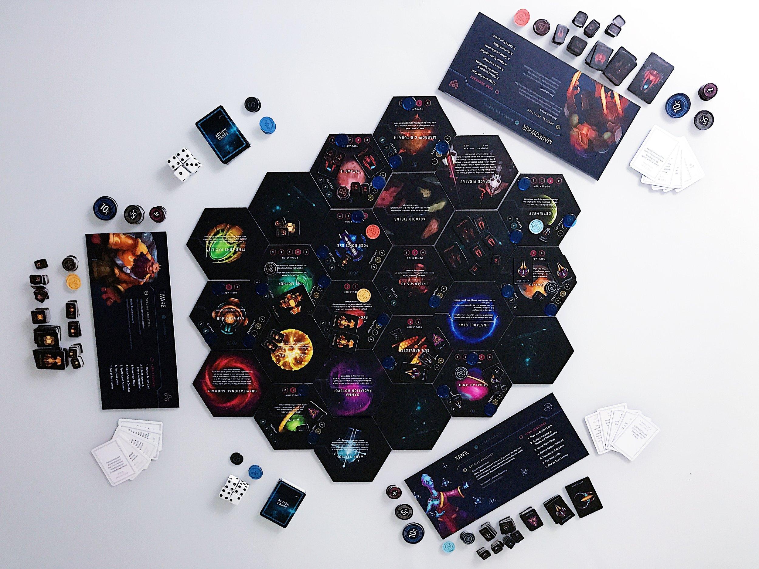 A three-player game setup