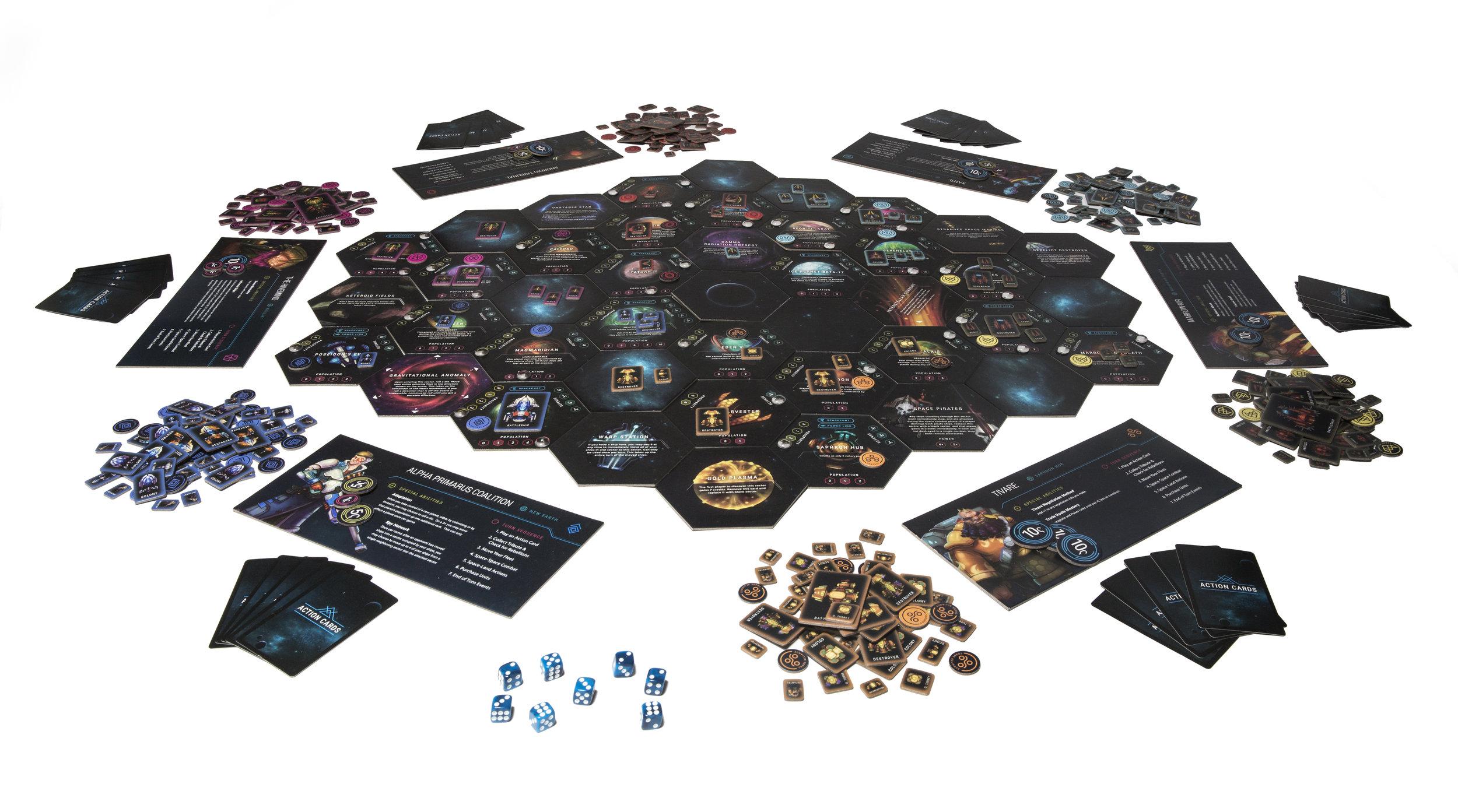 A six-player game setup
