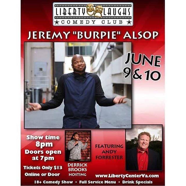 @derrickabrooks will be hosting at Liberty Laughs - June 9 & 10.  #comedylife #comedyclub #comedians #comedy #production #dmv #dmvcomedy #livecomedy #dmv #fredericksburgva #dc #md #va #standupcomedy