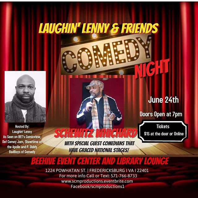 @teamschewitz will be ripping the stage at The Beehive Event Center and Library Lounge Fredericksburg on June 24!  For more information: www.scmproductions.eventbrite.com #comedylife #comedyclub #comedians #comedy #production #dmv #dmvcomedy #livecomedy #dmv #fredericksburgva #dc #md #va #standupcomedy #likeforlike #tbt