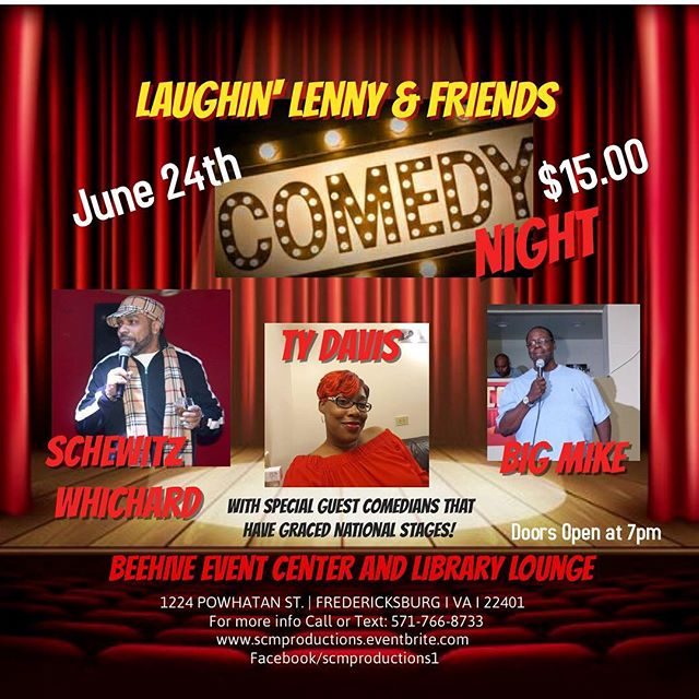 🚨 JUST ADDED @comediantydavis & @mac_chicken70 -  @teamschewitz  will be ripping the stage at The Beehive Event Center and Library Lounge Fredericksburg on June 24!  For more information: www.scmproductions.eventbrite.com comedylife #comedyclub #comedians #comedy #production #dmv #dmvcomedy #livecomedy #dmv #fredericksburgva #dc #md #va #standupcomedy #likeforlike #tbt #tickets