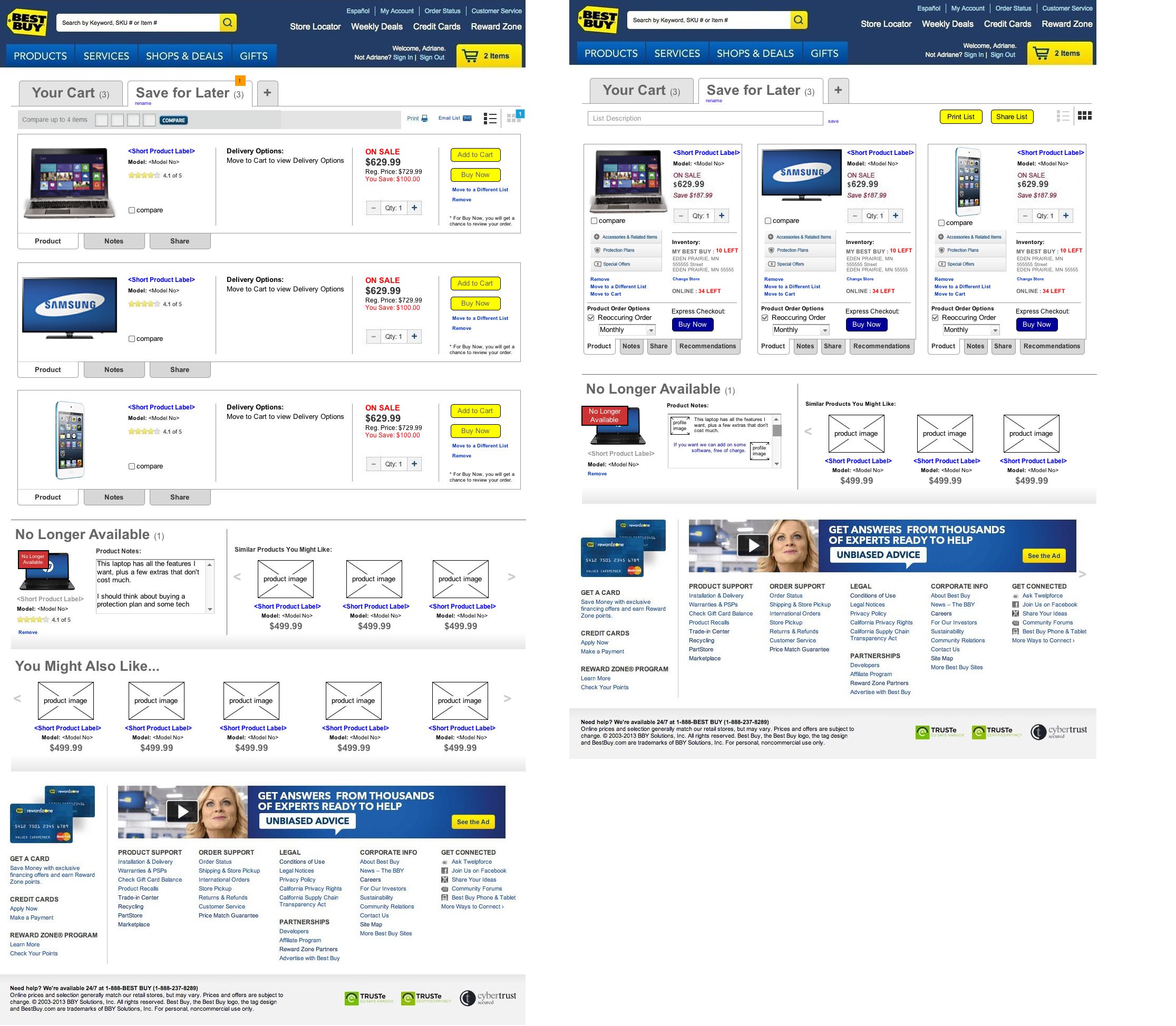 Best Buy Save for Later Mock-ups