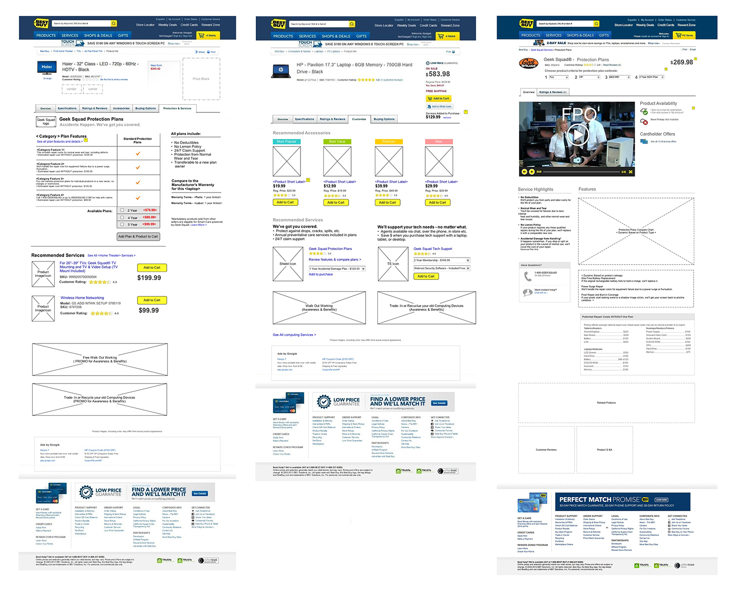 Geek Squad Protection & Services Wireframes