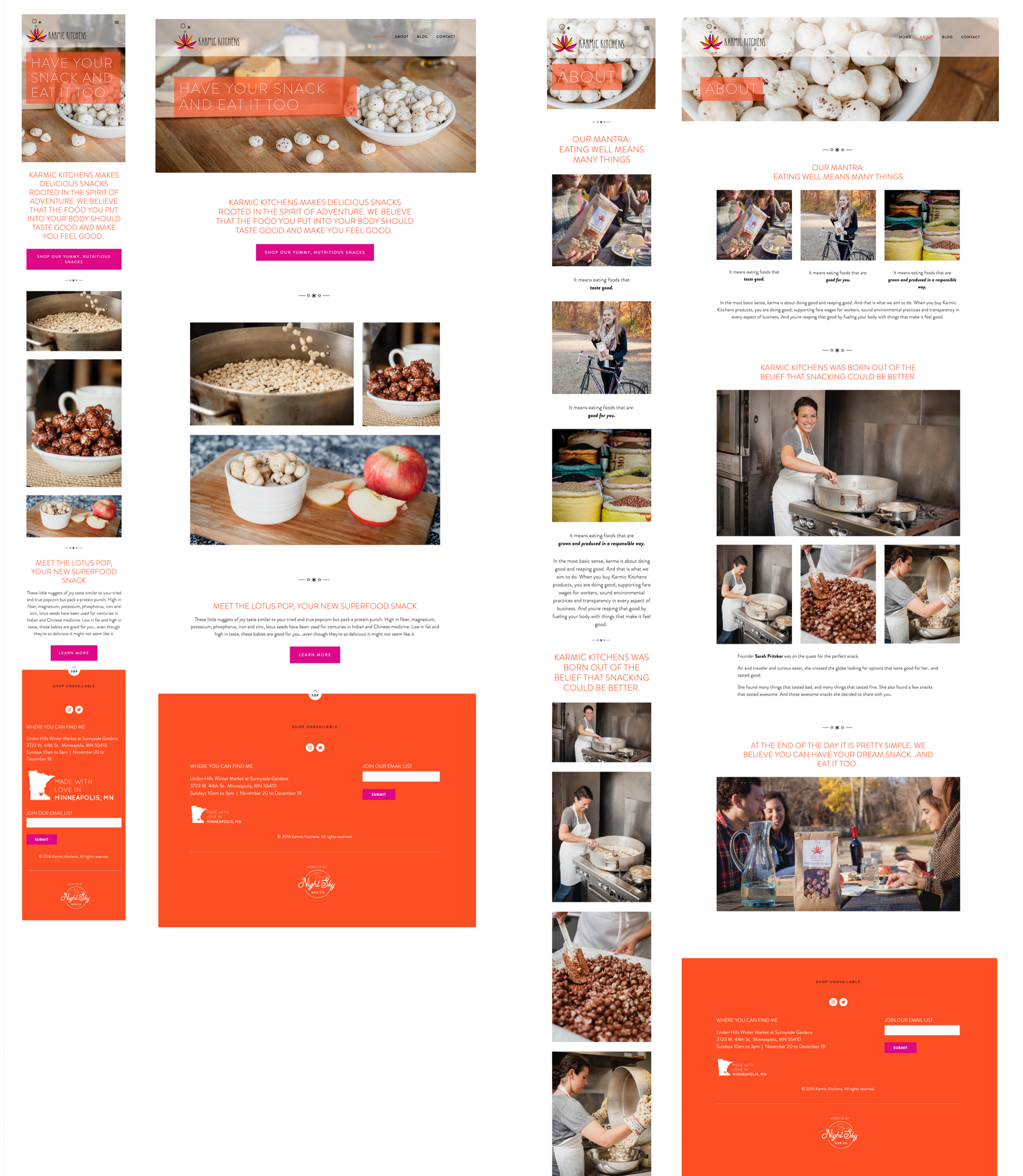 Karmic Kitchens Small & Large View UI Designs